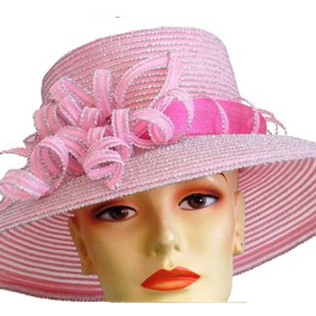 #173 Pink lightweight straw year round mid-brim trimmed with silver.