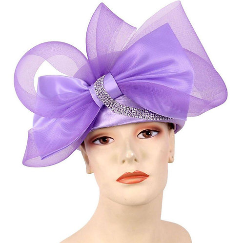 #111 Lavender Elegantly embellished pillbox with horsehair bow.