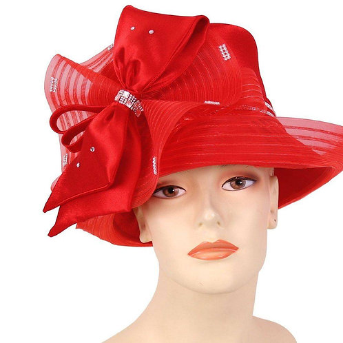 #24 Red satin ribbon with asymmetrical brim.