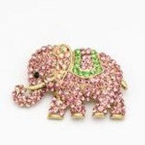 Pink & green rhinestone elephant