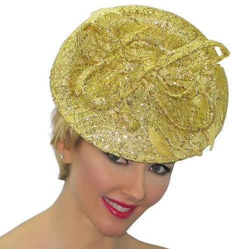 #78 Gold mesh metallic Derby ready Couture Design Fascinator.
