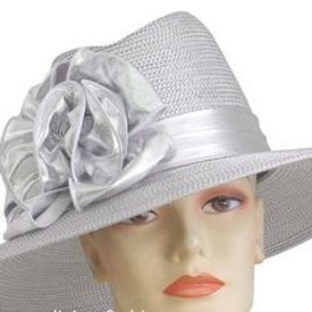 #80 Silver Metallic straw wide brim also ready for the Derby.