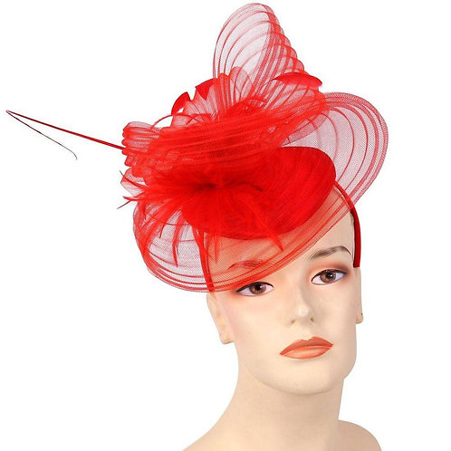 #167 Red Satin Fascinator with covered sinamay top.