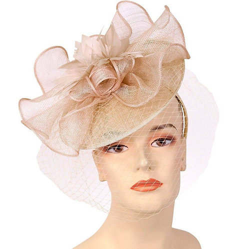 #254 Beige Diagonal Sinamay Fascinator, topped with sinamay ruffles.