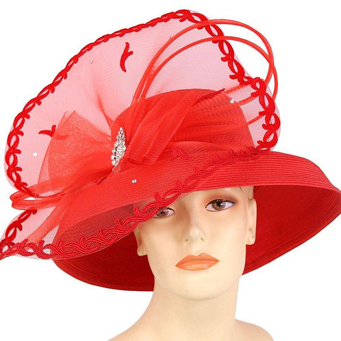 #144 Red straw with embroidery clipping lace band around the crown.