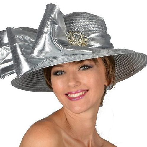 #13 Silver Year-round Satin ribbon up or down brim.