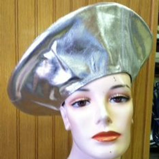 #23 Silver Leather Tam Beret.