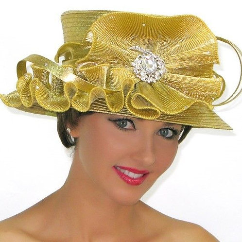 #214 Metallic gold with pleated shimmer bow and rhinestone embellishment.