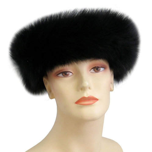 #5 Black Real Fox Fur Headband. Velcro wrap.