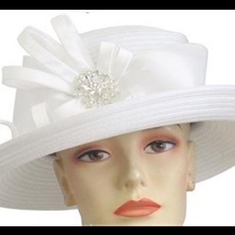 #89 White year round mid brim embellished satin ribbon.