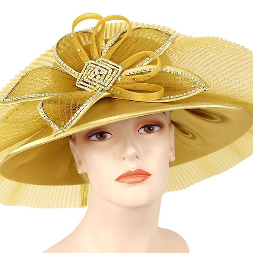 #158 Derby ready Gold Year-round satin layered with pleated horsehair.