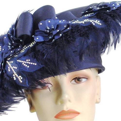 #126 Navy cloche doubled with an embellished widebrim trim around the hat.