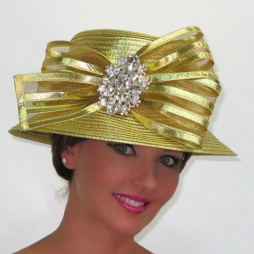 #231 Gold Year-round Satin ribbon trimmed with large satin & horsehair bow.
