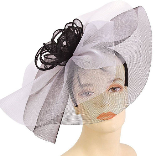 #121 White with black double layered horsehair ruffles.