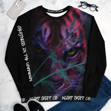 NightShiftCO Color block Tiger Sweatshirt, BLACK