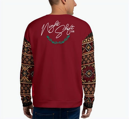 NIGHTSHIFT CO Tatreez Sleeved UNISEX SWEATER-Maroon Red