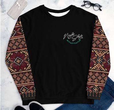 NIGHTSHIFT CO Tatreez Sleeve Chest Logo UNISEX SWEATER-Black