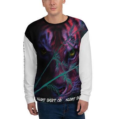 NightShiftCO Color block Tiger Sweatshirt, LIGHT GREY