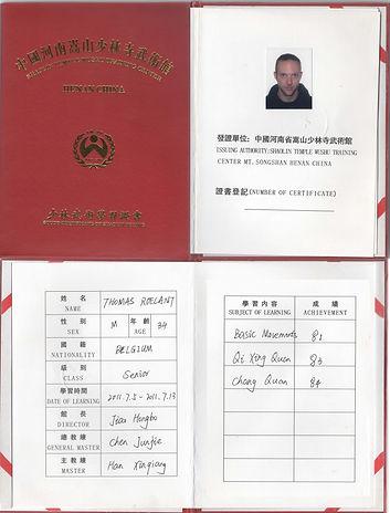 Diploma Songshan Shaolinsi Wushuguan 201