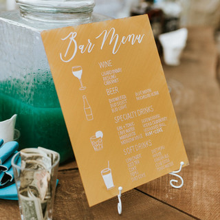 Sunflower Hill Wedding - Bar Menu