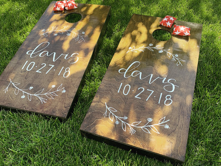 Hand-Lettered Cornhole Boards