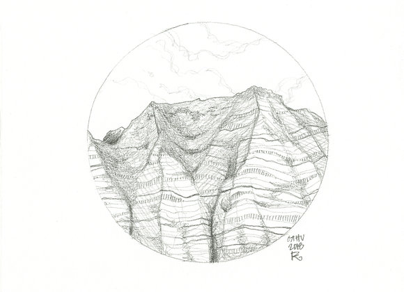 Oahu Cliffs / Original Pencil