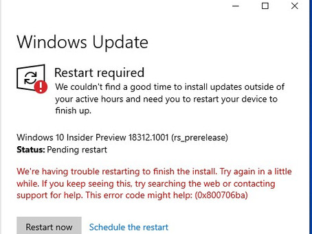 Windows Insider Build 18312 Troubles