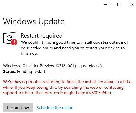 Windows Insider Build 18312 Troubles