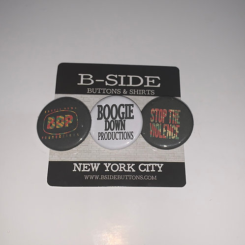 """Boogie Down Productions Button Pack - Size: 1.25"""""""