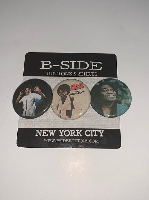 """James Brown button Pack - Size: 1.25"""""""