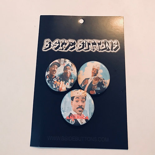 """Coming To America Button Pack - Size: 1.25"""""""