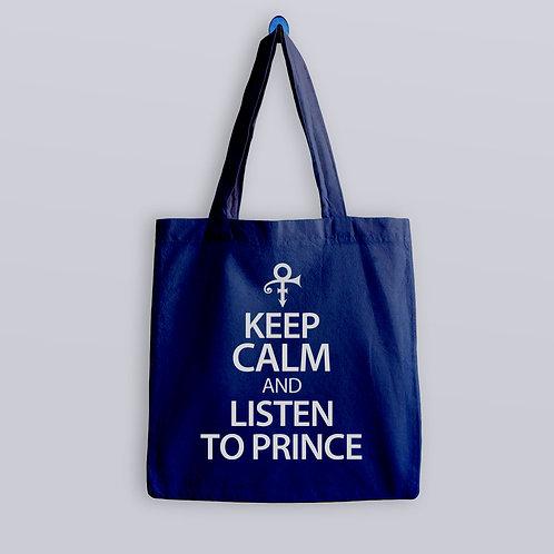 Keep Calm and listen to Prince Tote Bag