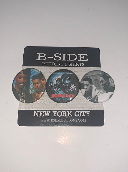 """Juice x Tupac Shakur Button Pack - Size: 1.25"""""""
