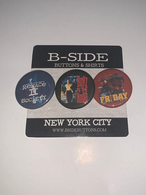 """Classic Hip Hop Movie Button Pack - Size: 1.25"""" (Friday Menace II Society...)"""