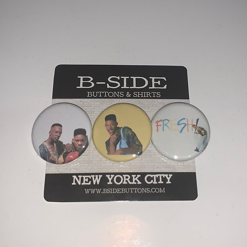 """DJ Jazzy Jeff and the Fresh Prince Button Pack - Size: 1.25"""""""