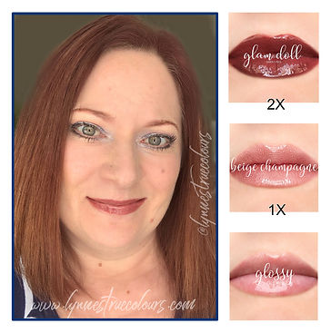 Glam Doll and Beige Champagne LipSense Look by Lynne's True Colours