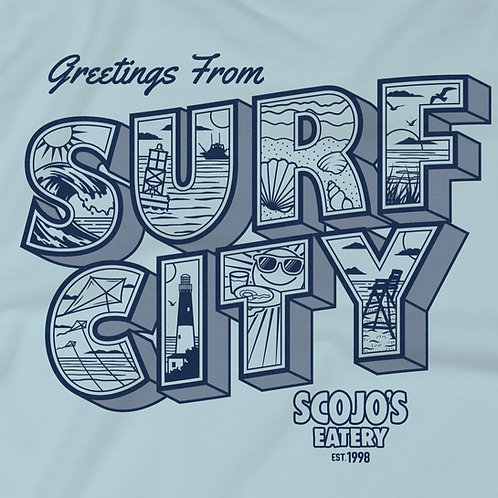 Greetings from Surf City-Home of ScoJo's-Sky Blue