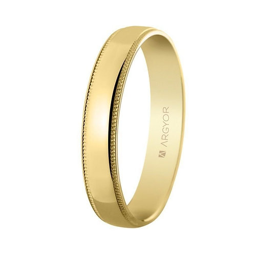 Alianza de oro brillo y facetas 4mm
