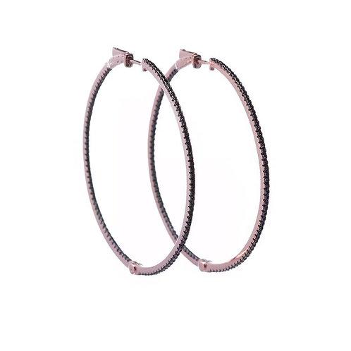 Pendientes aro rosa/negro