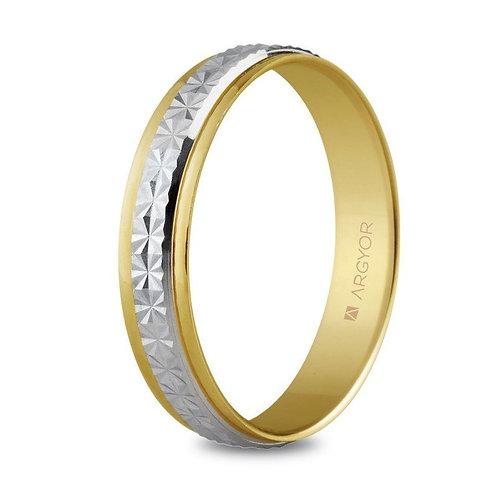 Alianza de boda dos oros facetada de 4mm