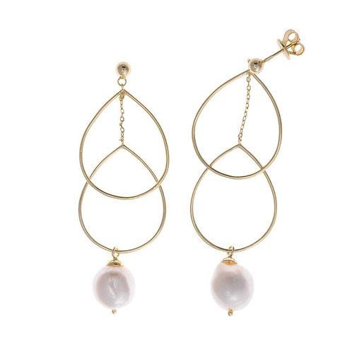 Pendientes plata dorada con perla.