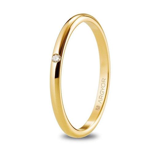 Alianza de boda oro 18k y 1,8 mm con diamante