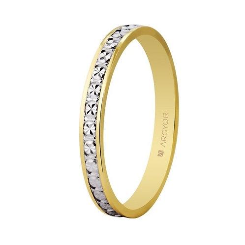 Alianza de boda bicolor diamantada dos oros 2,5mm