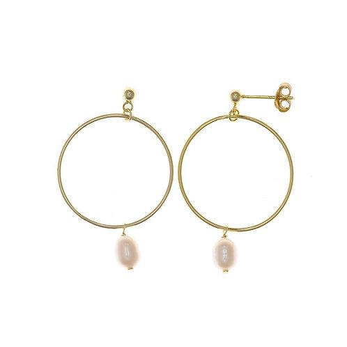 Pendientes plata dorada y perla