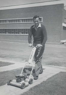 Bill Palmer mowing grass 37 Lardner Rd o