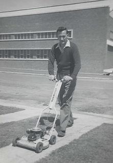 Bill Palmer mowing grass 37 Lardner Rd o
