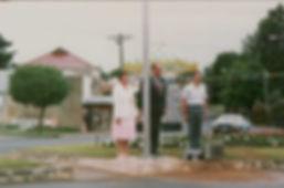 1988 community flagpole raisning ceremon
