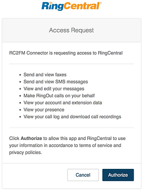 RC2FM Connector OAuth2 Authorization screen