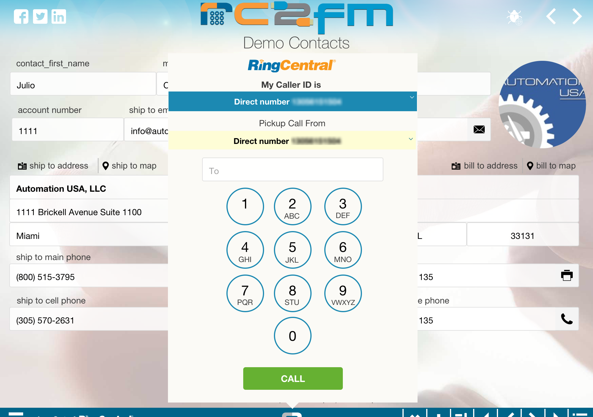 Here's a sample RingOut Dialer from our RC2FM demo file.