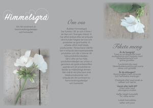 A picture of a grey brochure design with white flowers and handwriting.